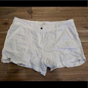 LOFT white linen shorts